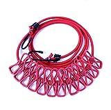 SZM 物干しロープ 12個クリップ付き マルチ機能ハンガー アウトドアハンガー 旅行 キャンプ用ハンガー 伸縮物干し竿 (赤い)