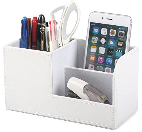 ペン立て オーガナイザー 卓上収納 ボックス レザー silvercoral ( ホワイト )