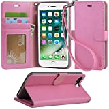 iphone 8 plus case, iPhone 7 plus case, Arae [Wrist Strap] Flip Folio [Kickstand Feature] PU leather wallet case with ID&Credit Card Pockets For iPhone 8 plus (2017) / iPhone 7 plus (2016) - baby pink