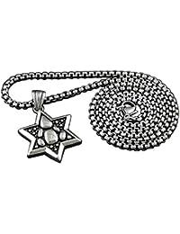 ユニセックスメンズNever FadeステンレススチールStar of David Jewishペンダントネックレス