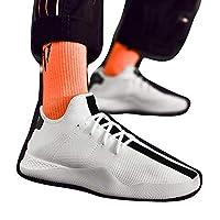 [Tantanbaihuo] 靴メンズシューズ夏の足カジュアルシューズ通気性ファッション黒と白の靴メンズシューズ (色 : ホワイト, サイズ : 43)
