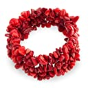 ブリングジュエリー 人工赤珊瑚 チップ がっしり ストレッチブレスレット
