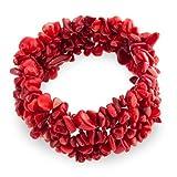[ブリング・ジュエリー] Bling Jewelry 人工赤珊瑚 チップ がっしり ストレッチブレスレット [インポート]