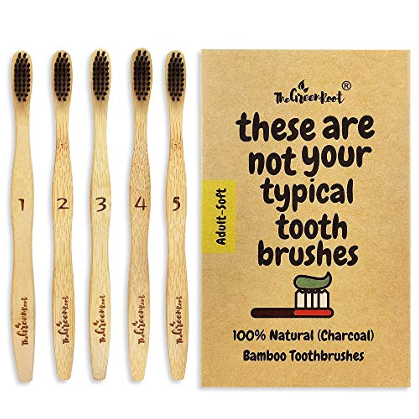 引退する落胆したサイドボードNatural Charcoal Bamboo Toothbrushes (Pack of 5) for Adults with Soft Bio-Based Nylon Bristles - Individually...