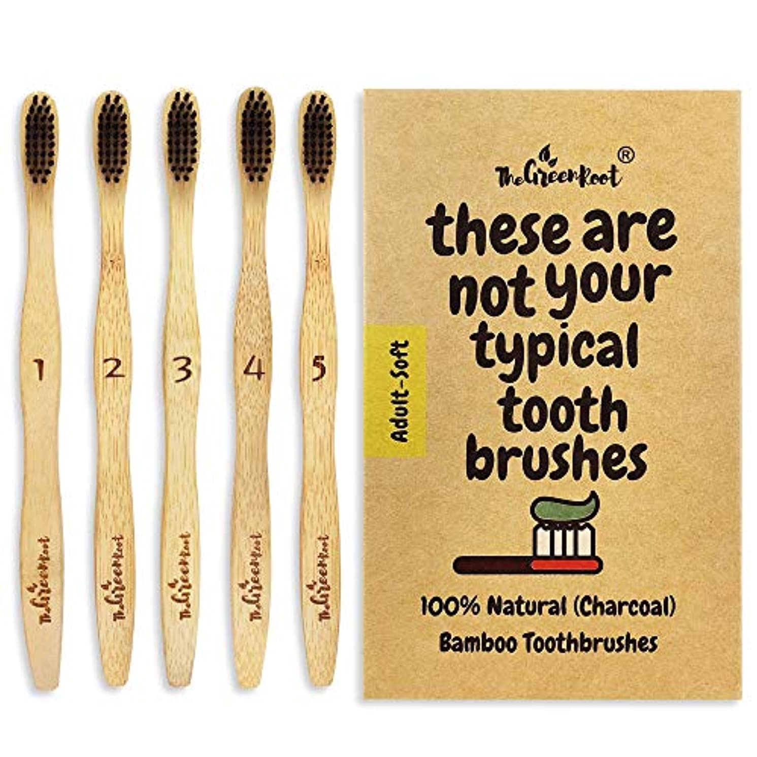 汚れる絶望イヤホンNatural Charcoal Bamboo Toothbrushes (Pack of 5) for Adults with Soft Bio-Based Nylon Bristles - Individually...