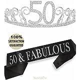 (Tiara+Sash) - 50th Birthday Tiara and Sash, HAPPY 50th Birthday Party Supplies, 50 & Fabulous Black Glitter Satin Sash and Crystal Tiara Birthday Crown for 50th Birthday Party Supplies and Decorations (Tiara+Sash)