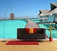 XLI-You 3D 壁紙 3D モルディブ 海の景色 壁紙 カスタムメイド 壁画 新しい写真 壁紙 家 装飾 ステッカー 壁画 XLi-You45282-4682