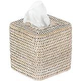 "KOUBOO 1030056 La Jolla Rattan Square Tissue Box Cover, 5.5"" x 5.5"" x 5.75"", White Wash"