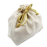 【巾着袋】日本製【生成り系/黄色系】小物入れ ポーチ 麻混生地
