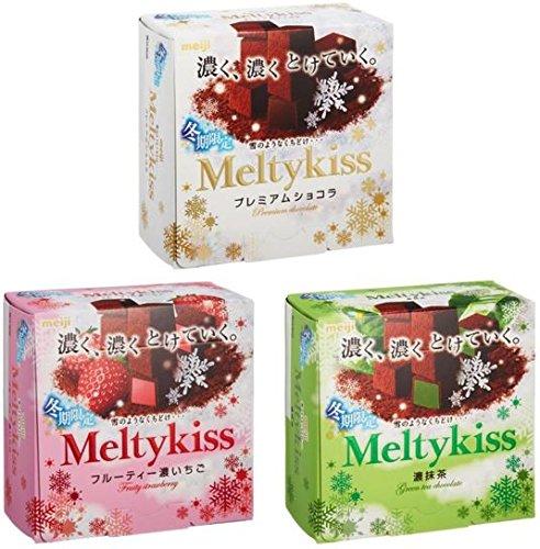 明治 メルティーキッス Meltykiss 『冬期限定』人気3種セット(プレミアムショコラ味+フルーティー濃いちご味+濃抹茶味)合計3個