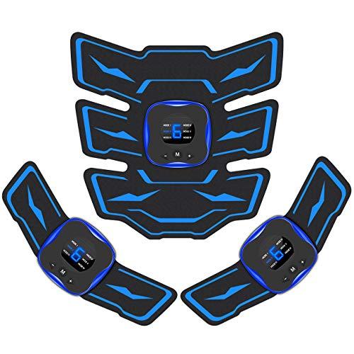 EMSIC EMS 腹筋ベルト 液晶表示 USB充電式 腹筋 腕筋 筋トレ器具 トレーニングマシーン 「6種類モード 9段階強度 日本語説明書付属」 (ブラック)