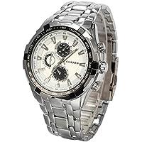 選べる 7 色 クロノ グラフ 高級 ファッション クォーツ 腕 時計 かっこいい おしゃれ メンズ スポーツ デザイン ウォッチ アナログ 表示 【 BOX 時計 拭き 付 】 (シルバー&ホワイト)
