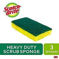 "Scotch-Brite HD-3 Heavy-Duty Scrub Sponge- 4 1/2 x 2 7/10 x 6/10"" Green/Yellow- 3/Pack by 3M"