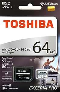 東芝 microSDXC 64GB EXCERIA PRO R:95MB/s W:80MB/s THN-M401S0640A2 TOSHIBA