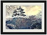 彦根市日本風景–アートプリント壁ブラック木目フレーム入り写真( 20x 14inches )