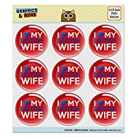 """私は私の英国の妻を愛する 1.5""""パフィーバブルドームスクラップブック製作ステッカーセット"""
