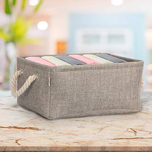 Cosyland 収納ボックス 折りたたみ式 収納ケース 天然亜麻布 取っ手付き 高耐久性 化粧品収納ケース 小物収納ボックス 衣類収納箱