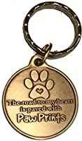 The Road to My Heart Is Paved with Paw Prints犬ペットLarge Paw Printブロンズキーチェーン足プリントデザイン
