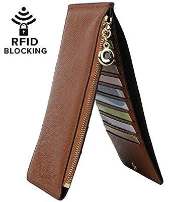 YALUXE Women's RFID Blocking Genuine Leather Multi Card Organizer Wallet with Zipper Pocket