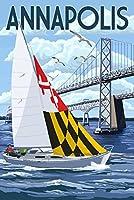 Annapolis、メリーランド州 - スクープ・セーラーボートとチェサピークベイ・ブリッジ。 12 x 18 Art Print LANT-87074-12x18
