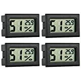 GuDoQi 4 Pack Mini Digital Electronic Thermometer Hygrometer LCD Mini Temperature Monitor Humidity Meter Gauge Digital Display for Reptile Incubator Fridge,Garden,Cellar Outdoor Indoor