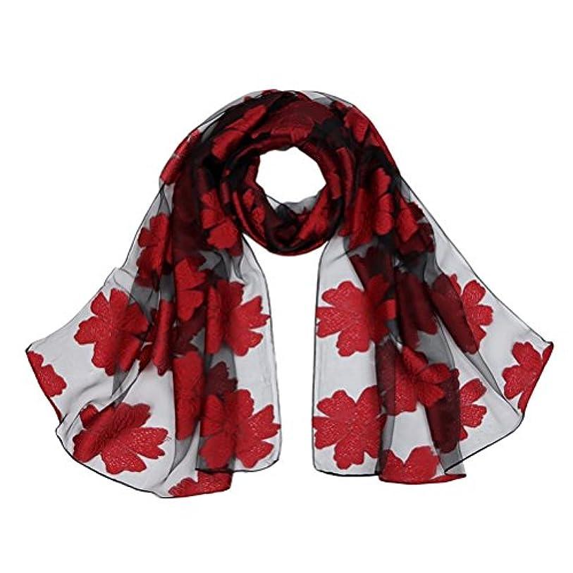 まとめる標高実際のZhhlaixing Fashion プリント Ladies Girls Ugen Yarn Cut Flower Scarf Flower Printed Scarves Shawl Wraps