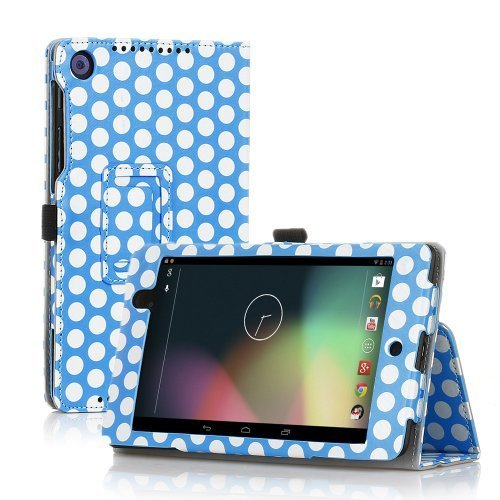 TNP Google Nexus 7 FHD 2nd Gen Case (Polka Dot Blue) - Slim Fit Synthetic Leather Folio Case Stand with Smart Cover Auto Sleep Wake Feature and Stylus Holder for Google Nexus 2 7.0 Inch 2013 Tablet by TNP Products
