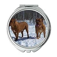 ミラー、コンパクトミラー、カラフルなかわいい犬のバセット、ポケットミラー、1×2倍の拡大鏡