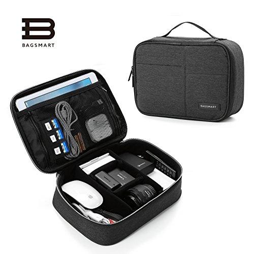 (バッグマート)BAGSMART ガジェットポーチ PC周辺小物用収納ポーチ ベルクロ式仕切り ACアダプター ipad air ipad mini kindle収納可 ブラック