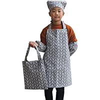 子供用 キッズエプロン4点セットRUSUNM ベルクロ 楽チン着脱 エプロン 三角巾 スリーブ収納袋 実用 綺麗やじるしパターン HJT04M