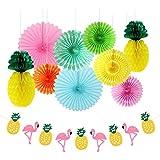 10つのキットペーパーファンの夏のパーティーパックパイナップルのボールとフラミンゴのバナーガーランド熱帯のハワイアンルアウのビーチの装飾