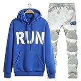 SemiAugust(セミオーガスト)メンズ 上下セット パーカー パンツスポーツ セット ジャージ スウェット長袖ジャケット 新品 着ごこち抜群 男性用 カラーはブルー サイズは2XL