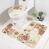 3 点セット U 字 トイレマット,浴室の敷物 トイレ 席 クッション 欧州 アメリカン スタイル 印刷 バスルームカーペット トイレマット-B 47x75cm