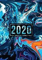 Agenda settimanale 2020: 1 gennaio 2020 al 31 dicembre 2020: Agenda settimanale e mensile, Organizer & Diario: Ricciolo di marmo blu e arancione 064-0