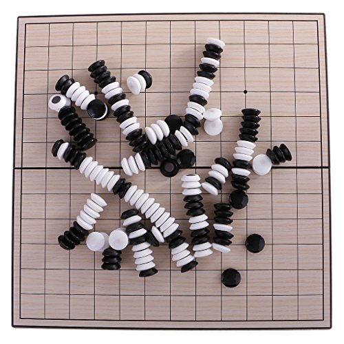 Dovewill 初心者 黒と白 ストーン付き 折り畳み式 磁気 五目並べ 囲碁 ボード