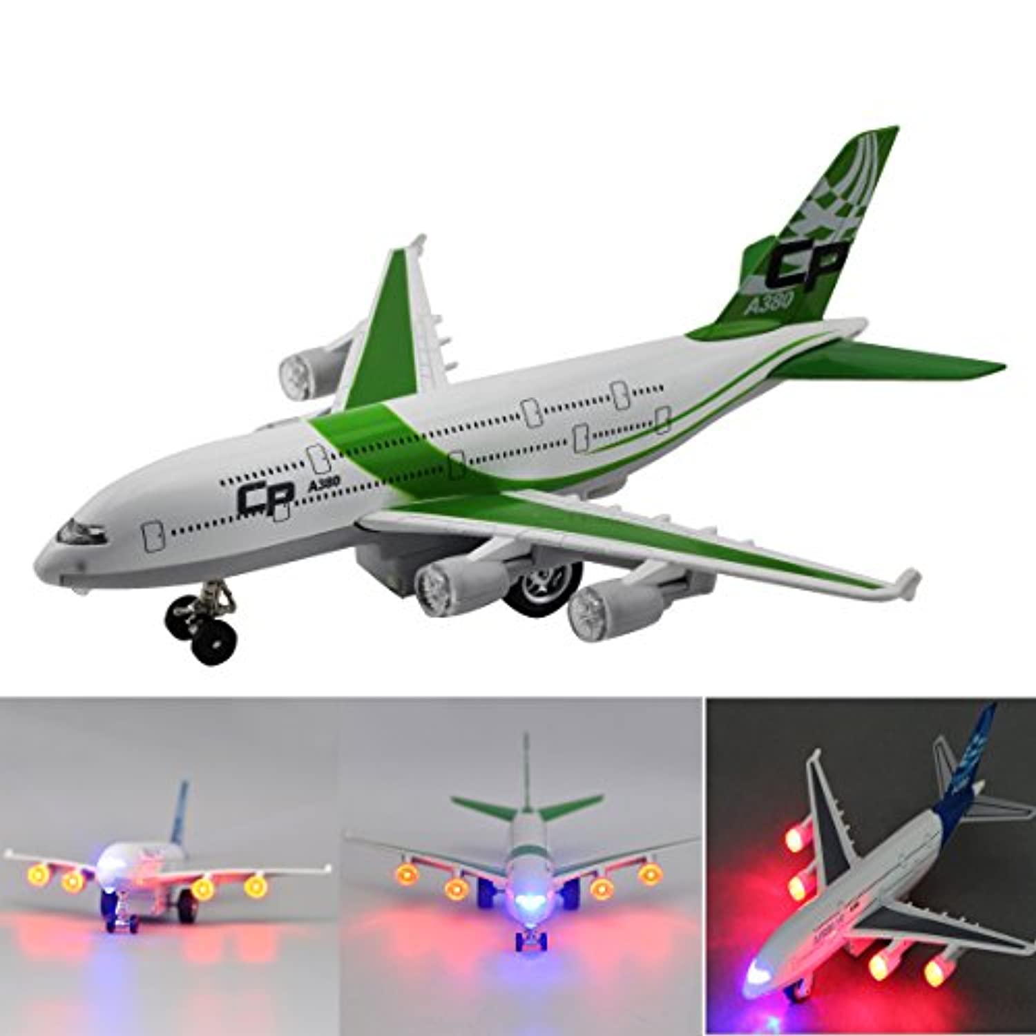 Moleya Kids Toys 20CM Airbus Emirates A380 Airplane Pull Back Electric Plane Model with Lights and Sounds (Green) by Moleya