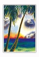 空中に音楽があります - ハワイアンサンセット - オリジナルハワイ水彩画から によって作成された ペギー チュン - アートポスター - 33cm x 48cm