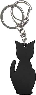 (シールアル)猫チャームキーホルダー 本革 日本製 キーリング バッグチャーム CLuaR-KH (01.ブラック) 黒