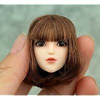 DuDu 1/6 素体 ヘッド パーツ ガール 女性 頭 目玉可動 塗装済 植毛タイプ 髪付き アクセサリ アクションフィギュア (茶髪ボブ)