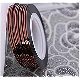 Osize ネイルアートキラキラゴールドシルバーストリップラインリボンストライプ装飾ツールネイルステッカーストライピングテープラインネイルアートデコレーション(コーヒー)
