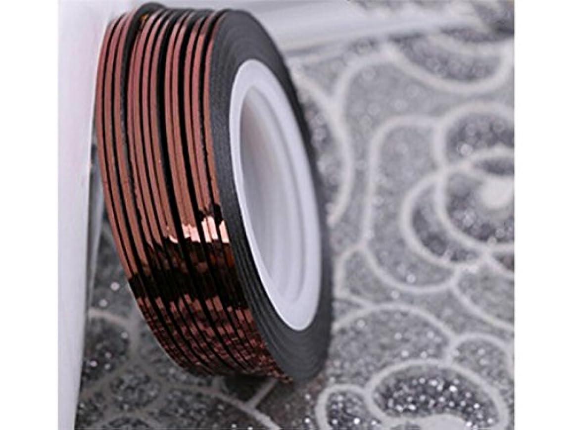 規制ぎこちない降雨Osize ネイルアートキラキラゴールドシルバーストリップラインリボンストライプ装飾ツールネイルステッカーストライピングテープラインネイルアートデコレーション(コーヒー)
