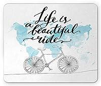 世界地図反射動機付けのスポーツイラスト青白マウスパッドで自転車の心に強く訴えるサイクリング
