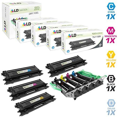 LDのセットリサイクルBrother tn1155高YieldレーザーカートリッジIncludes : 1dr110clドラムユニット、1tn115bkブラック、1tn115Cシアン、1tn115mマゼンタ、および1tn115yイエロー