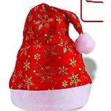 HuaQingPiJu-JP クリスマス用品ゴールデンスノーフレークパターンハット_Red