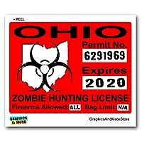 オハイオ州オハイオ州ゾンビハンティングライセンス許可レッドステッカー