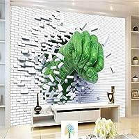 Wuyyii 大きなカスタム壁の拳壊れた壁の背景の壁のリビングルームの寝室のソファの背景壁画装飾-250X175Cm