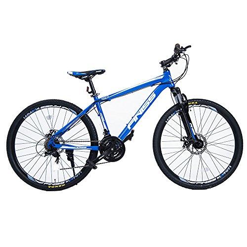 (オーエスジェー)OSJ 自転車 アルミマウンテンバイク 26インチ アルミフレーム MTB フロントサスペンション シマノ21段変速 (ブルー, ハイフレーム)