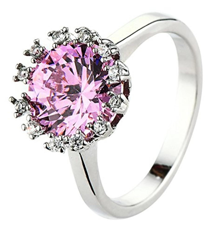 EOZY 指輪 レディース ラウンド形 大粒ダイヤモンドCZ リング アクセサリー ギフト ホワイトゴールド メッキ シンプル ジュエリー おしゃれ ピンク 8