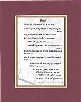 goodoldsaying–詩の動機–Faith。。。Poem on 11x 14インチDouble Beveled Matting 11 by 14