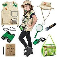 Born Toys Kids Explorer Kit for Boys and Girls with Washable Premium Backyard Safari Vest and Adventure kit for Halloween Costume, Paleontologist Costume Full Kids Explorer Set